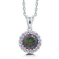 Round Mystic Fire Cubic Zirconia Sterling Silver 925 Pendant Necklace #n1000-03