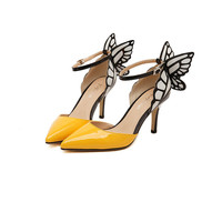 Beautiful Butterfly Pointed Color Matching High-Heeled Sandals