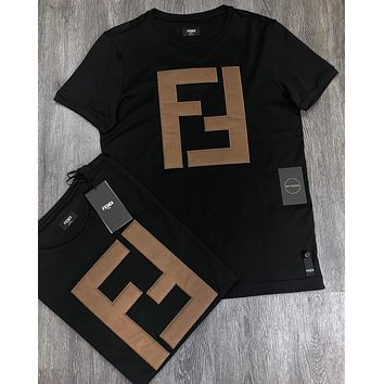 FENDI Summer Fashion New FF Letter Cotton Couple T-Shirt White