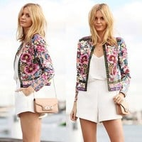 Womens Jacket - Long Sleeve Coat Floral Printed Casual Jacket