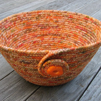 Coiled Fabric Bowl, Basket, Fall Colors