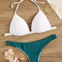 Ruched Halter Top With Hipster Bikini Set