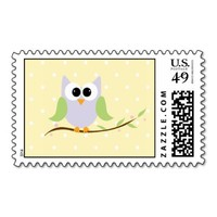 Cute Mauve Owl on yellow polka dots postage stamps