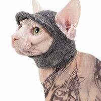 Sphynx Cat Kitten Hat for a Cat!  The Kitty Cap Cat Hat in Fleece with gentle Velcro, a hat they will wear Cat Hat Dog Hat