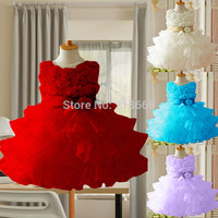 Girl Dress Rose Baby Girl Princess Clothing Infant Dress With Bow Girl Formal Party Dress
