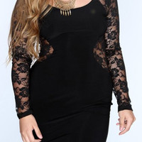 Black Floral Pattern Long Sleeve Lace Dress