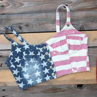 4th of July - Southern Girl - Super Cute!! Red, White & Blue Slightly Distressed Denim Halter with Metal Studs-FREE SHIPPING in the USA