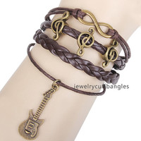 Leather braided bracelet happy notes guitar archaize deserve to act the role of bracelet, men's and women's individual bracelet QNW8033
