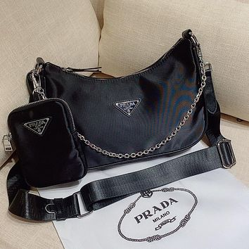 Prada classic hot sale ladies two-piece solid color messenger bag shoulder bag shopping bag