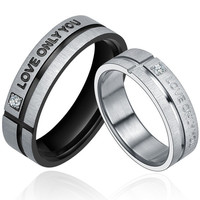 """Stainless Steel """"LOVE ONLY YOU"""" W. Cubic Zirconia Couple Promise Ring"""