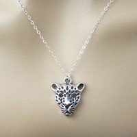 Silver, Leopard, Necklace, Animal, Jewelry