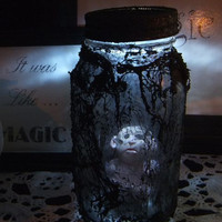 Creepy Doll / Halloween Creature /  Decoration / OOAK Freak n Jar / Light