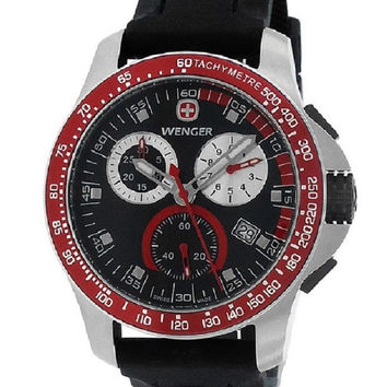 WENGER Battalion Field Chrono Black Rubber Strap Watch for Men