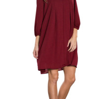 Solid V-Neck Loose Casual Mini Dress