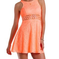 Coral Daisy Crochet & Lace Skater Dress by Charlotte Russe
