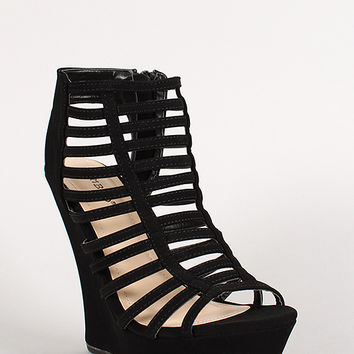 Bamboo Nubuck Strappy Caged Open Toe Platform Wedge