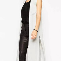 White Pocket Side Slit Sleeveless Long Chiffon Kimono