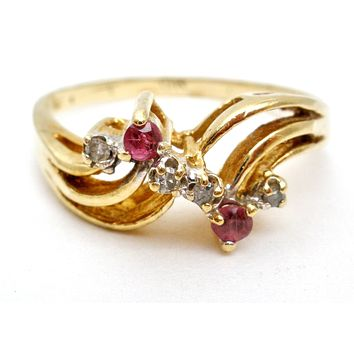 10K Gold Ruby and Diamond Ring Size 6