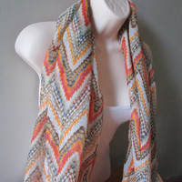 20% off Chevron Print Scarf,Trendy scarves,loop Scarves, Fall Color Scarfs,Natural Colors,
