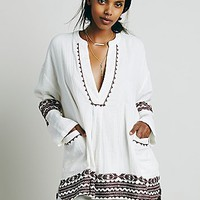 Free People Womens Embroidered Deep V Pocket Tunic