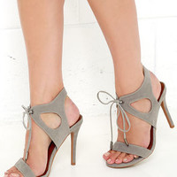 It's My Party Grey Lace-Up Heels
