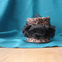 Cuff with black fabric roses. Cuff with animal pattern fabric. Eco friendly mothers day.