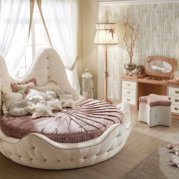 Round bed with tufted headboard STELLA MARINA   Upholstered bed by Caroti