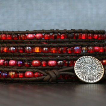 cranberry red beaded wrap bracelet on black brown leather - pomegranate - casual jewelry