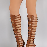 Strappy Buckled Open Toe Gladiator Stiletto Heel
