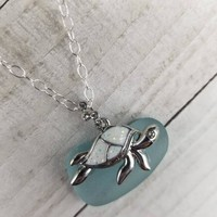 Sea turtle necklace, sea turtle lover gift, beach necklace, genuine sea glass necklace, sterling silver jewelry