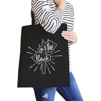 Go to the Beach Black Canvas Bags