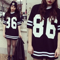 Number Printed T-Shirt Dress