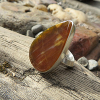 Petrified wood, OOAK, silver ring, size 8, gemstone, handmade, numbered, statement ring, cocktail ring, wood, metalwork, natural stone