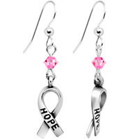 Pink Crystal Breast Cancer Earrings Created with Swarovski Crystals | Body Candy Body Jewelry