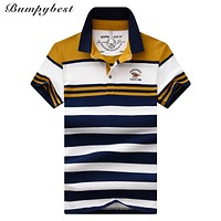 NEW Stripe hit color Tops 100% cotton Men's Polo Shirt short sleeved polo shirt Business Male polo shirt Breathable