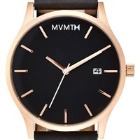 Men's MVMT Leather Strap Watch, 45mm - Black/ Rose Gold