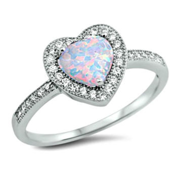 .925 Sterling Silver Halo White Fire Opal Heart Ladies Ring size 4-12