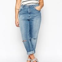 ASOS CURVE Kimmi Shrunken Boyfriend Jean In Mid Blue Wash With Rips at asos.com