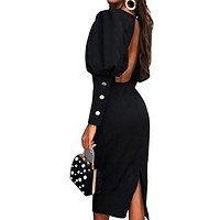 New fashion women's sexy round neck long sleeve halter fashion dress
