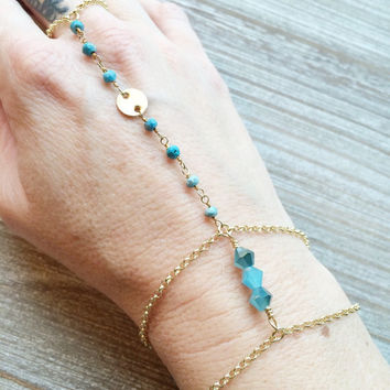 Blue/Turquoise Crystal and Gemstone Hand Chain
