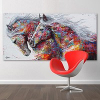 SELFLESSLY Wall Art Canvas Painting Animal Pictures For Living Room Horse Art Print Decoration Painting  No Frame