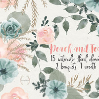 Peach and Teal | peach clipart, watercolor teal, boho clipart, hand painted floral, floral wedding invite, bouquets, bridal, PNG