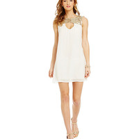 Sequin Hearts Metallic Sequin-Embellished-Yoke Shift Dress | Dillards