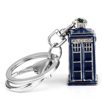 Dr Mysterious Ancient Doctor Who Tardis Metal 3D Police Box Cupreous Pendant Cosplay Keychain Keyring 3 Color