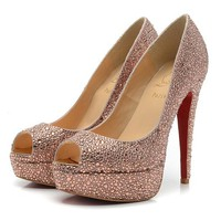 Christian Louboutin Fashion Edgy Diamond Red Sole Heels Shoes