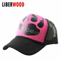 Unisex street fashion HELLO BEAR Mesh Baseball cap bear's paw claw men women hat Trucker cap Gorras Bone Brim hip-hop pink hats