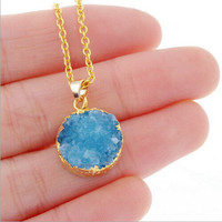 Gold-plated circular crystal necklace