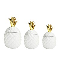 White/Gold Pineapple Canisters - Set of 3