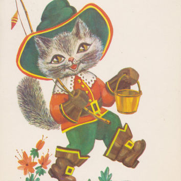 Cats. Set of 5 Vintage Holiday, Greeting, New Year Cards - 1960s-1980s, may be written on or not
