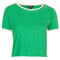Contrast Trim Cropped Tee - Emerald